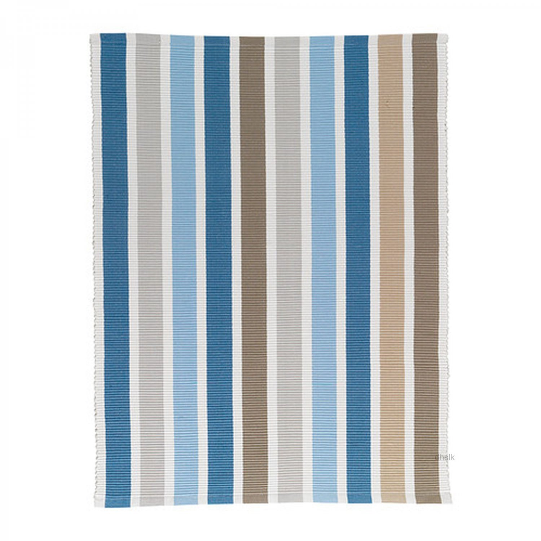 Ikea Emmie Blue Beige White Stripes Area Throw Rug Mat