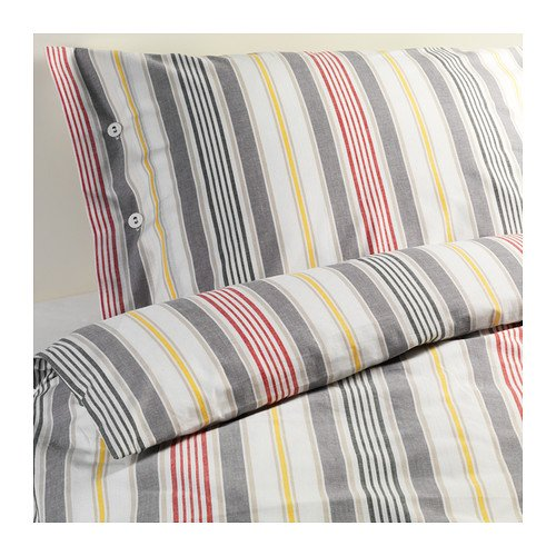 IKEA AKERFRAKEN Twin DUVET COVER Set STRIPES Red Gray Yellow Yarn Dyed �KERFR�KEN