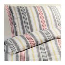 IKEA AKERFRAKEN Twin DUVET COVER Set STRIPES Red Gray Yellow Yarn Dyed ÅKERFRÄKEN