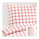 IKEA LISEL Red White QUEEN Full Double DUVET COVER Pillowcases Set ROPE KNOT Design Nautical