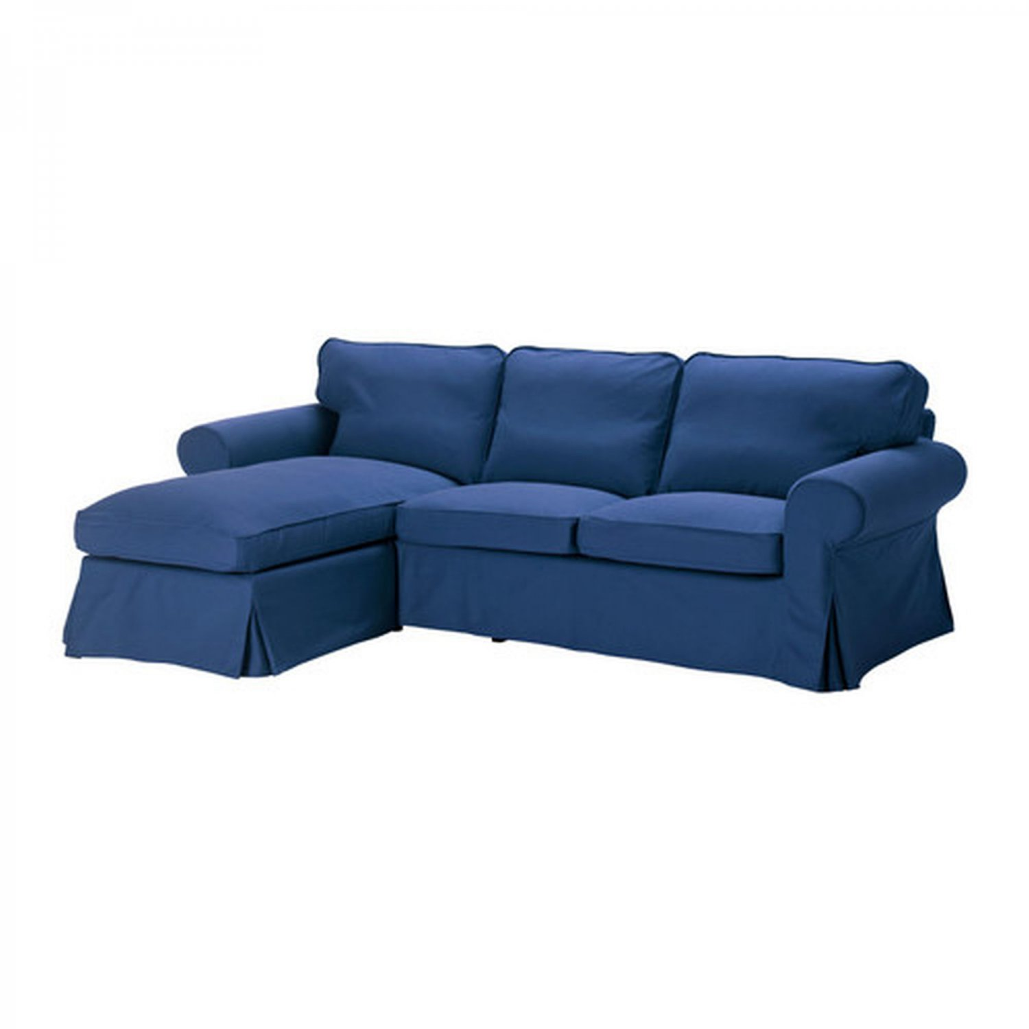 Ikea ektorp loveseat with chaise lounge cover slipcover idemo blue Cover for loveseat