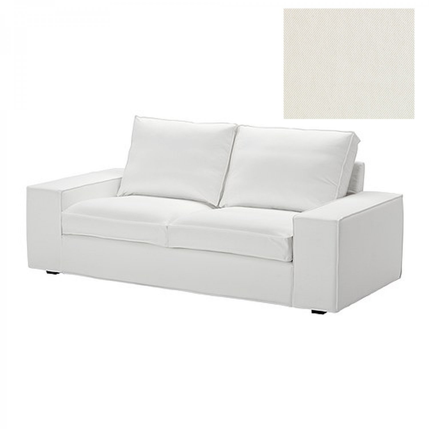 ikea kivik 2 seat sofa slipcover loveseat cover blekinge white cotton machine washable. Black Bedroom Furniture Sets. Home Design Ideas