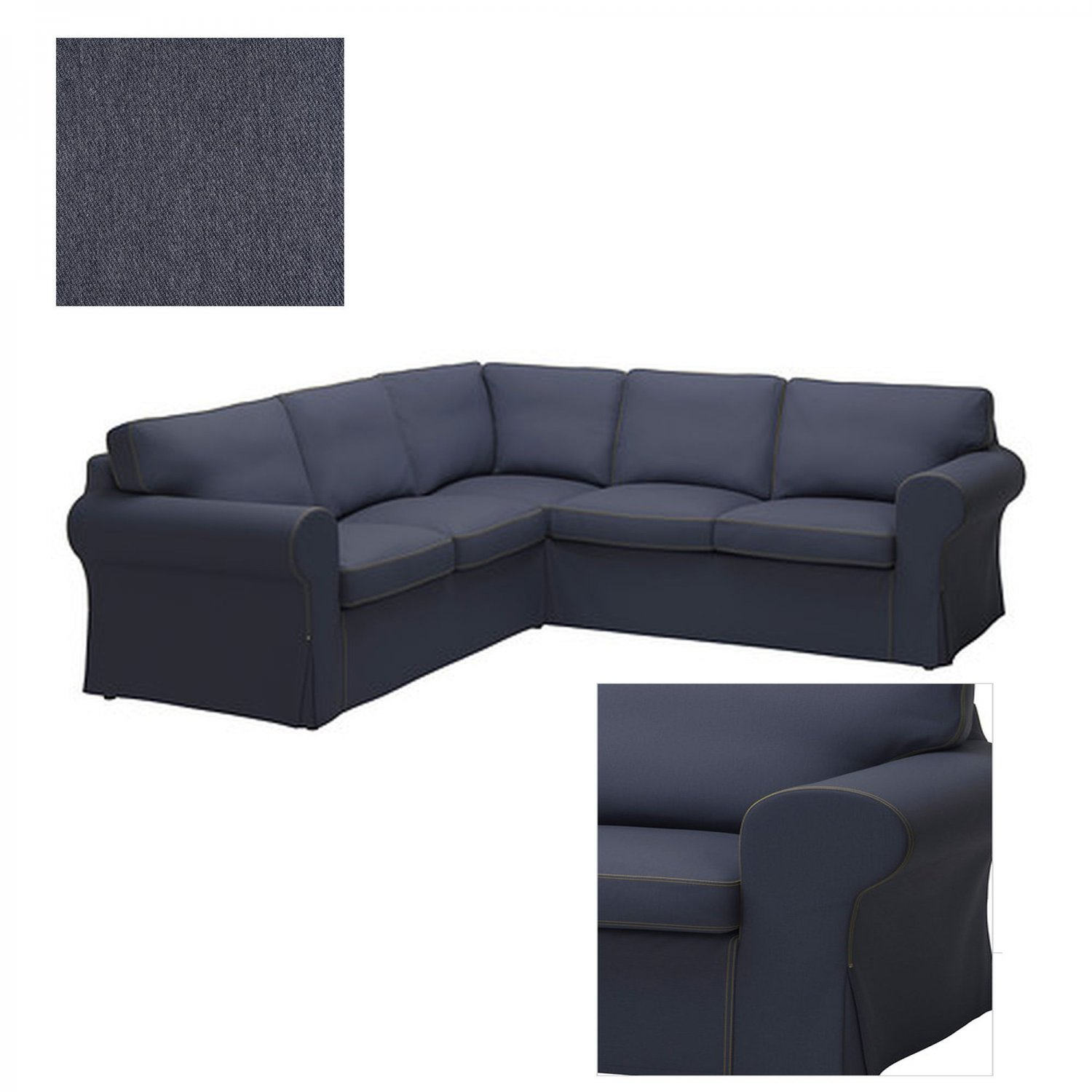 Ikea Ektorp 2 2 Corner Sofa Cover Slipcover Jonsboda Blue Denim