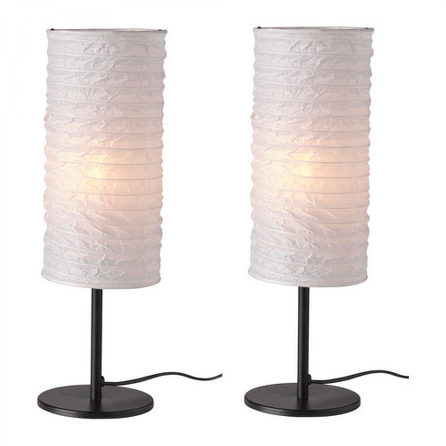 Ikea Oppby White Table Lamp Light Paper Set Of 2 Modern
