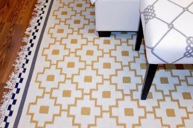 IKEA ALVINE RUTA Area RUG Mat WOOL Yellow Black White FLATWOVEN Hand-Woven