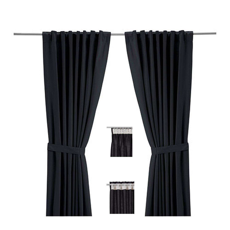 """IKEA RITVA BLACK CURTAINS Drapes HEAVY COTTON 98"""""""