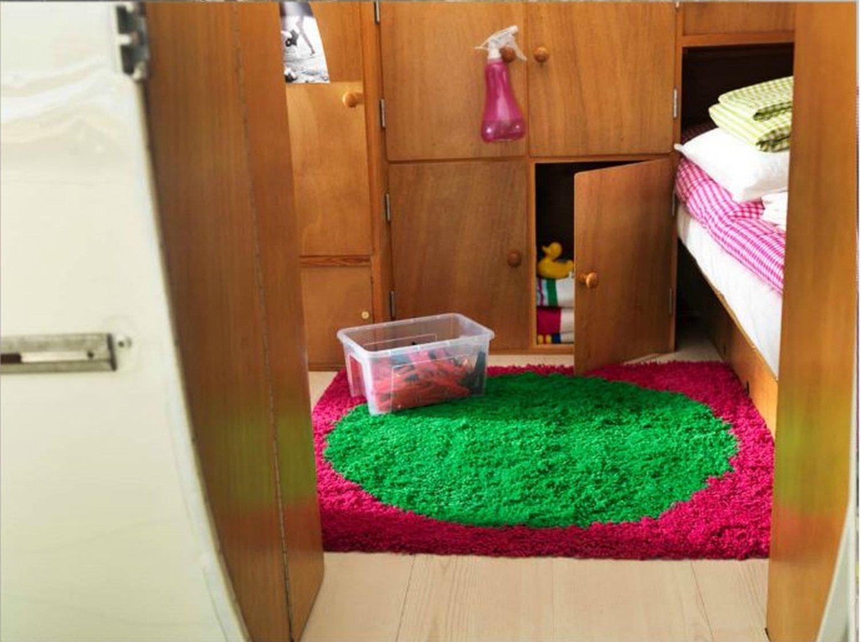 IKEA BARBRO PINK Green Dot AREA RUG Throw CARPET Mat Hi Pile MODERN Shag