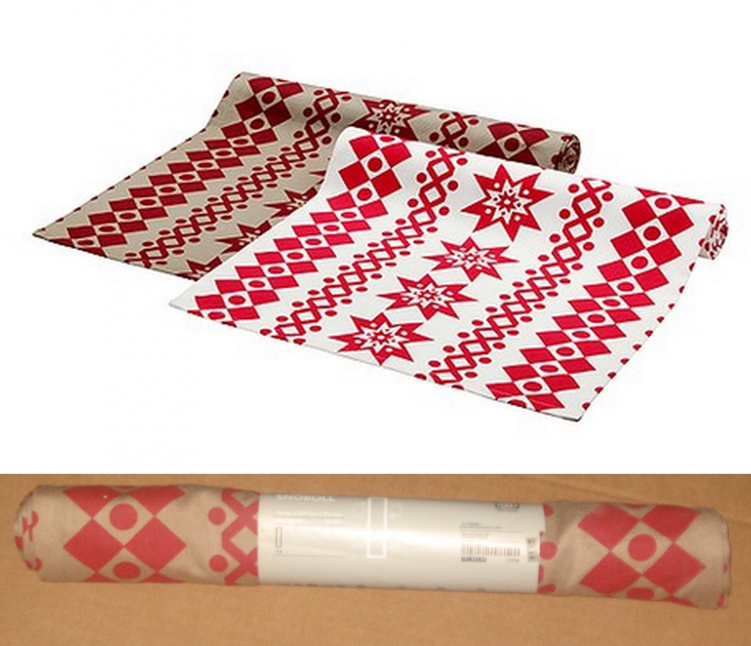 "IKEA SN�BOLL TABLE RUNNER RED Beige 98"" x 16"" Cotton SNOBOLL Xmas"
