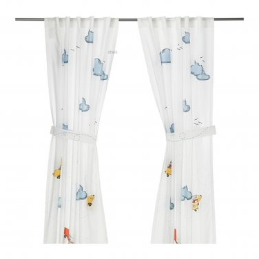 FLYGNING Children CURTAINS WHITE Airplanes CLOUDS Girl Boy Retro