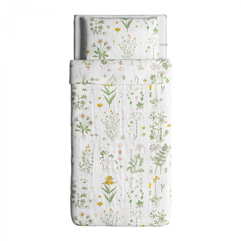 Ikea Strandkrypa Twin Duvet Cover Pillowcase Set Botanical