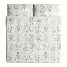 IKEA STRANDKRYPA KING Duvet COVER Pillowcases Set Botanical GREEN Yellow WHITE Pink FLORAL