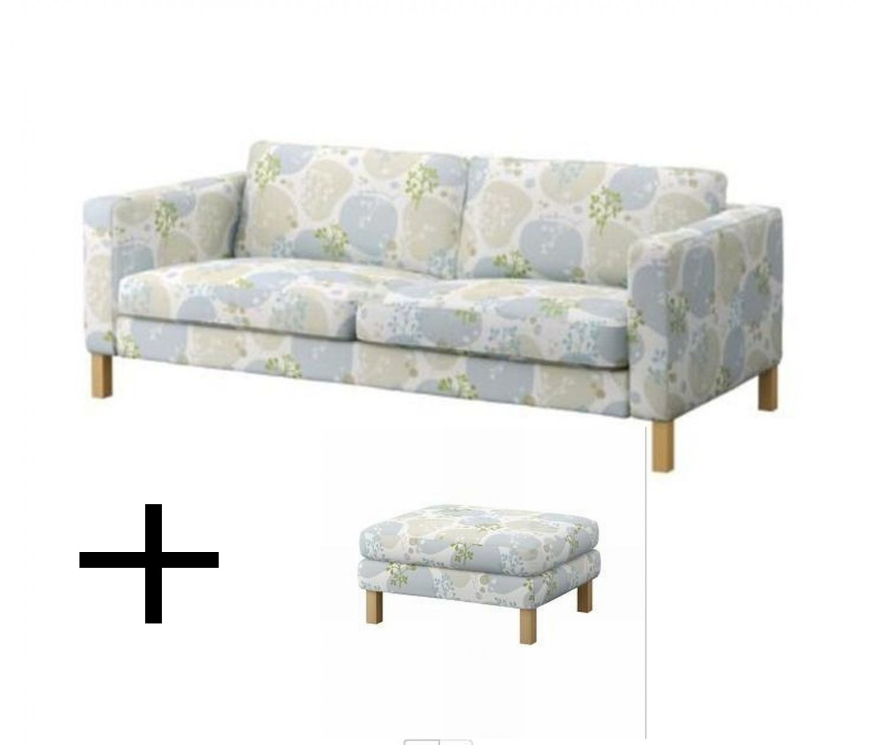 IKEA KARLSTAD Sofa Bed and Footstool SLIPCOVERS Sofabed Ottoman Covers GRONVIK Grönvik Blue Multi