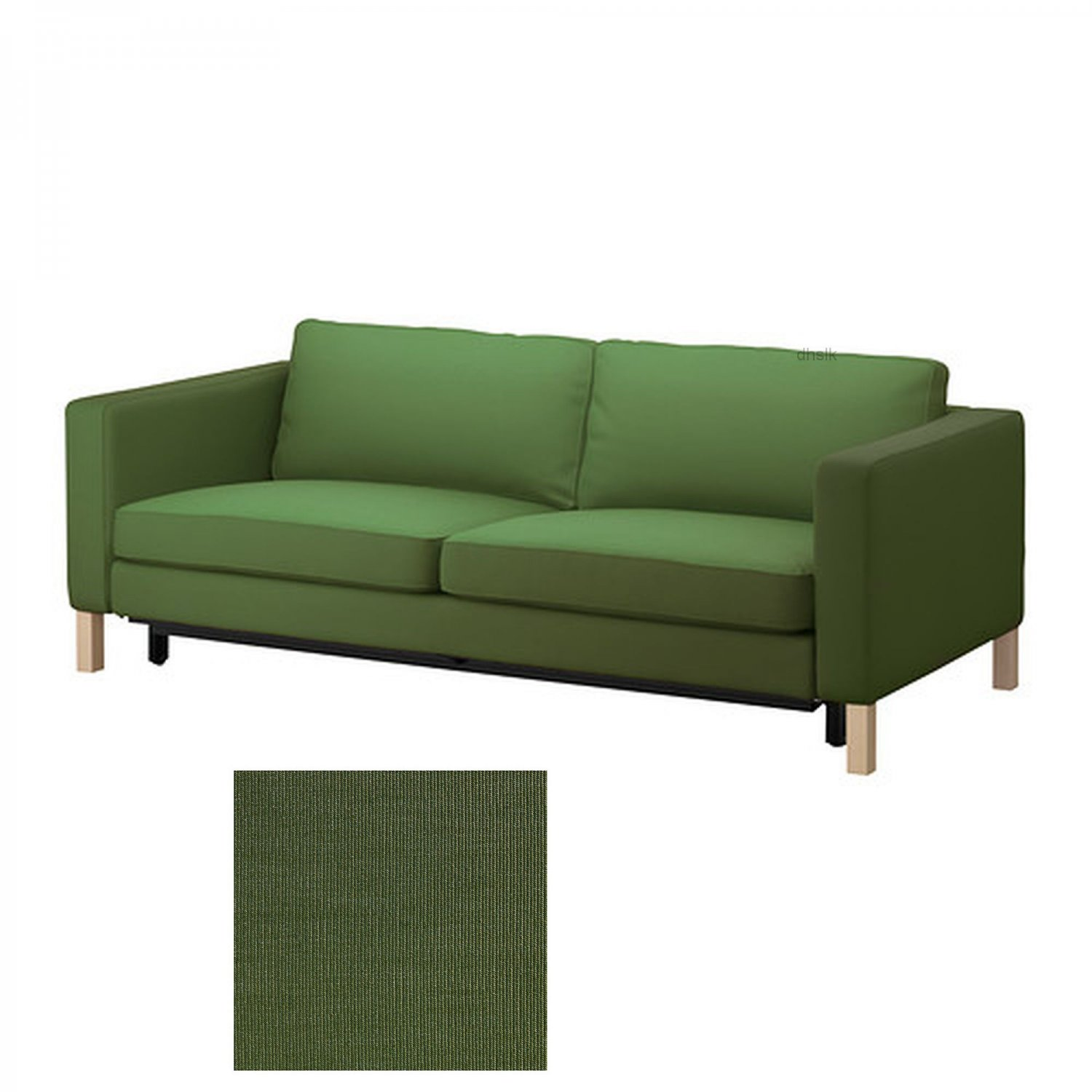 Ikea karlstad sofa bed slipcover sofabed cover sivik dark for Dark green sectional sofa