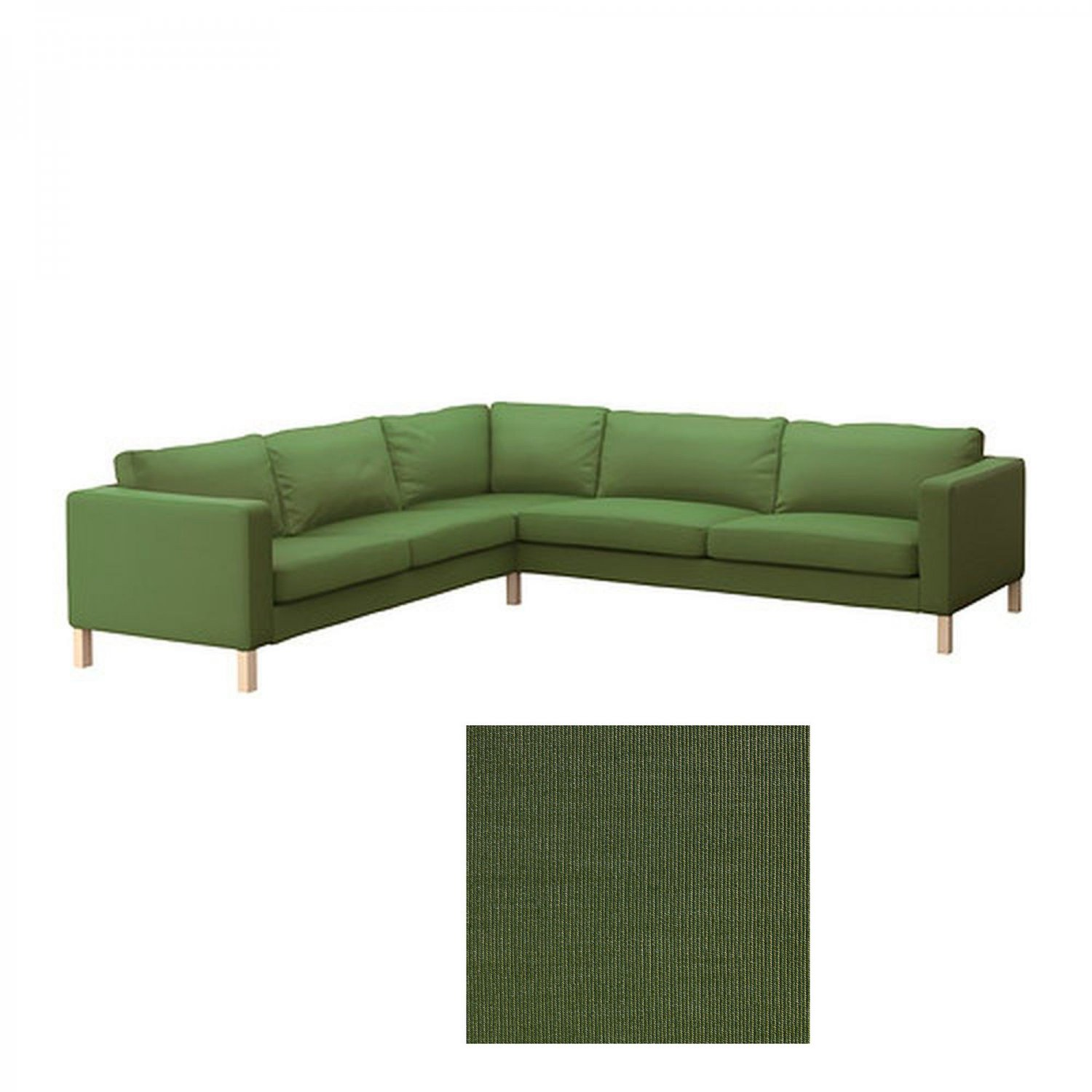 ikea karlstad corner sofa slipcover cover sivik green mid. Black Bedroom Furniture Sets. Home Design Ideas