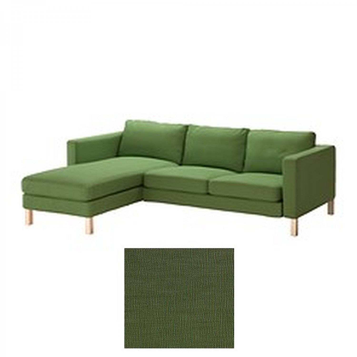Ikea karlstad 2 seat loveseat sofa and chaise slipcover cover sivik green add on last one Cover for loveseat