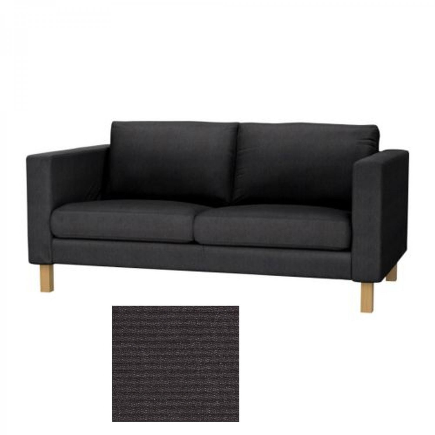 ikea karlstad 2 seat sofa slipcover loveseat cover sivik dark gray grey. Black Bedroom Furniture Sets. Home Design Ideas