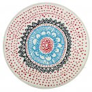IKEA VIRRING White Red Blue Area RUG Throw Mat MANDELA Round Rangoli