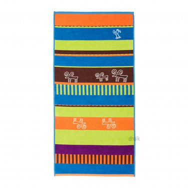 IKEA GLYTTIG Area Throw RUG Mat BLUE Animals Kids Decor BROWN Orange Green