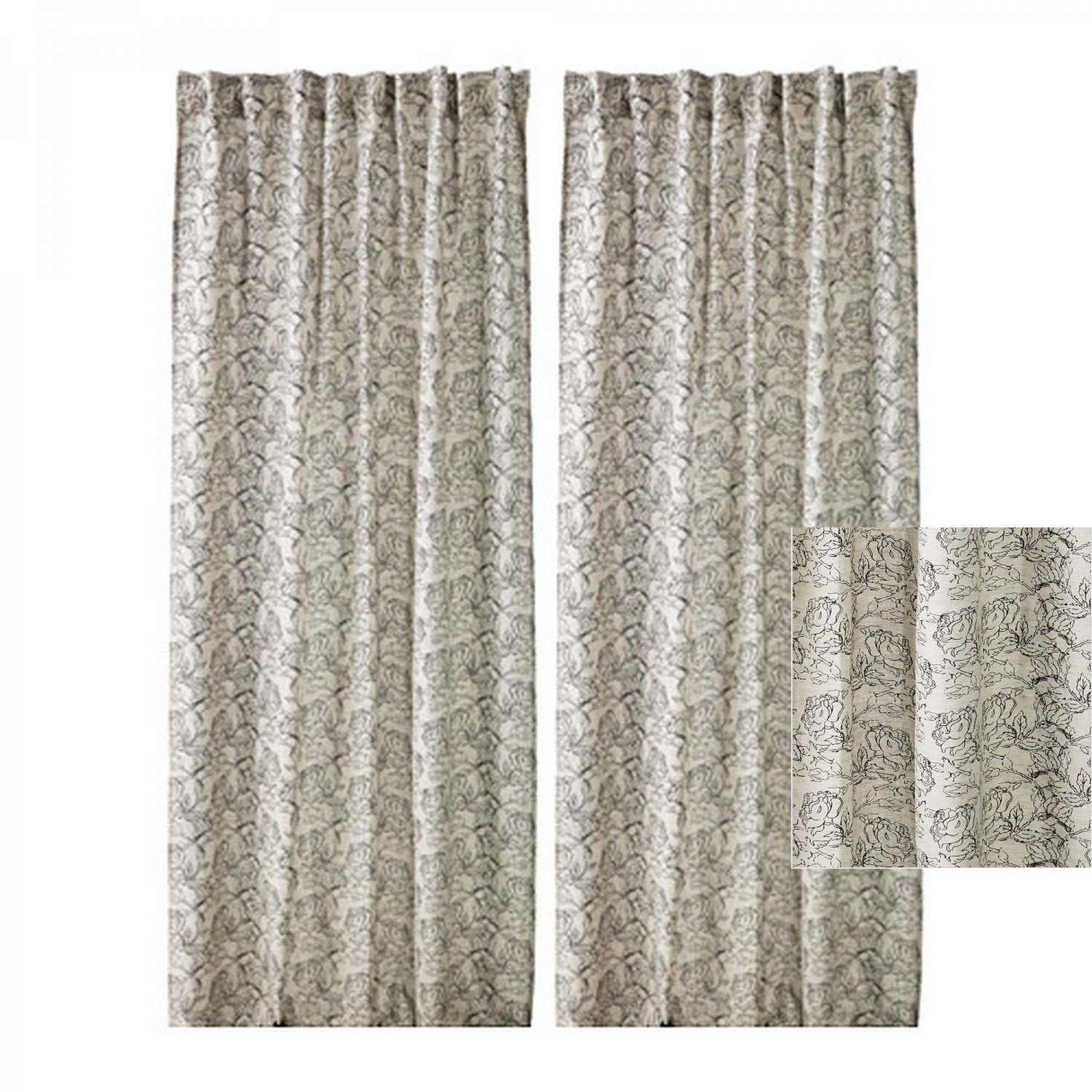 ikea ryssby 2014 curtains drapes black beige natural floral linen blend 118. Black Bedroom Furniture Sets. Home Design Ideas
