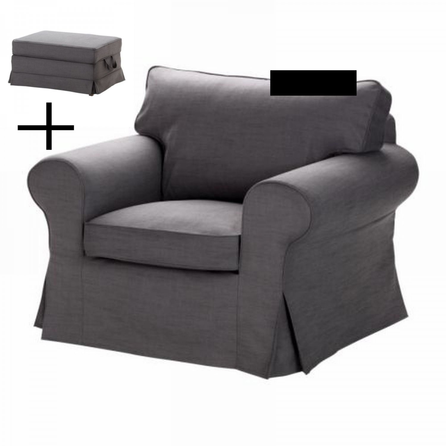 Ikea Ektorp Chair Ikea Ektorp Armchair And Bromma Footstool Cover Chair  Ottoman Slipcover Svanby Gray Grey