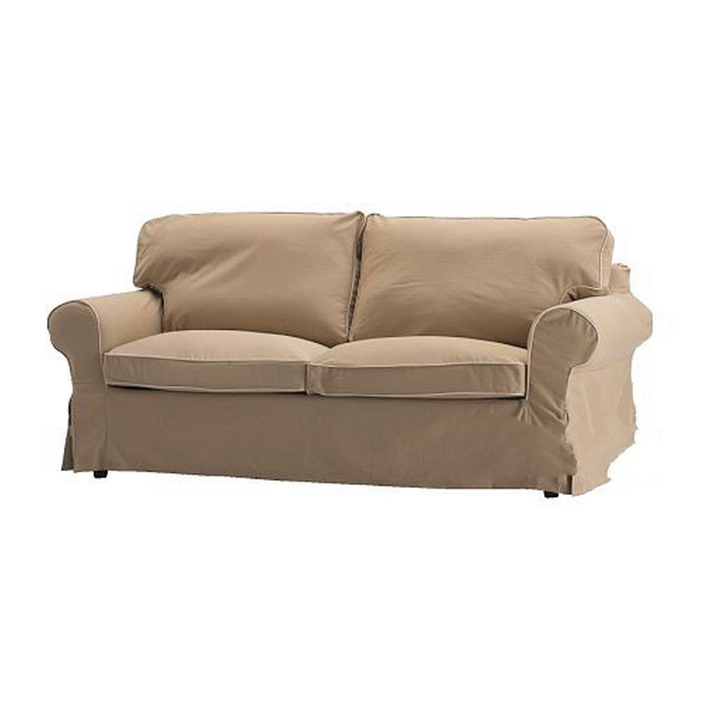Ikea ektorp loveseat slipcover 2 seat sofa cover idemo beige w piping Loveseat slipcover