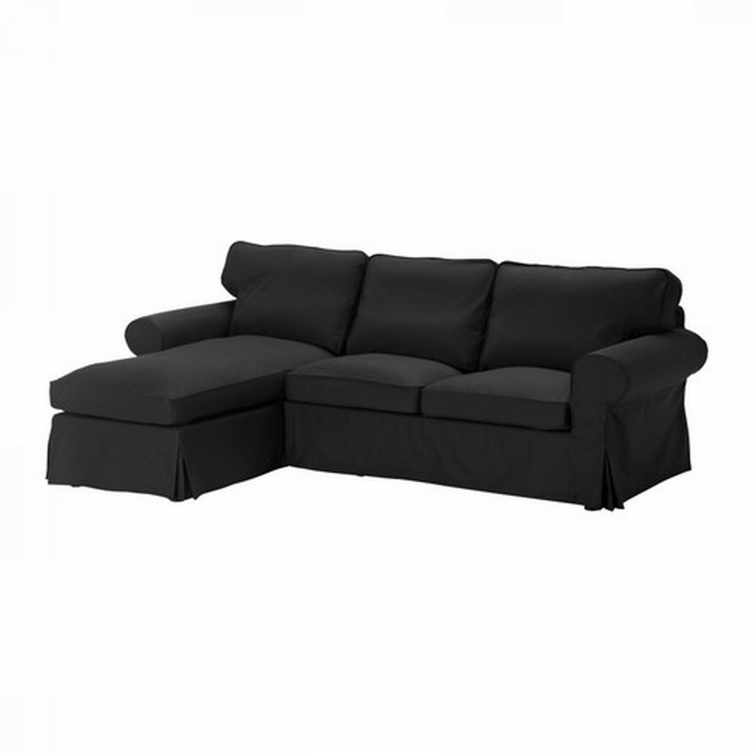 ikea ektorp 2 seat loveseat sofa with chaise cover slipcover idemo black. Black Bedroom Furniture Sets. Home Design Ideas