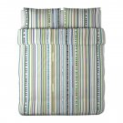 IKEA HEDDA BAND KING Duvet COVER Set GREEN Blue STRIPE Modern Retro