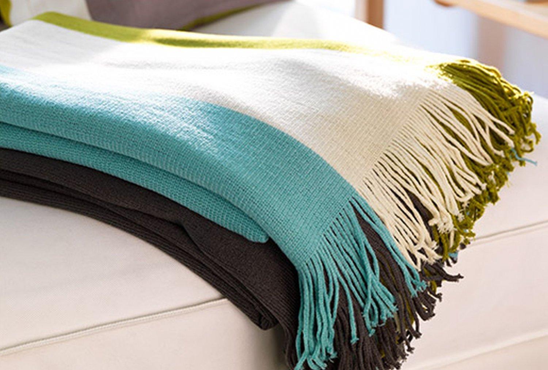 Ikea Malin Band Throw Blanket Afghan Blue Green Gray Stripe