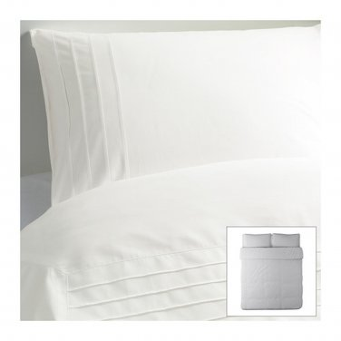 IKEA ALVINE STRA WHITE Pleated KING DUVET COVER and Pillowcases Set