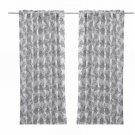 IKEA ALVINE BUKETT Drapes CURTAINS FLORAL Black White LEAF