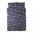 IKEA ALVINE FLOR BLUE White QUEEN Full Double DUVET COVER Set FLORAL MODERN Bold