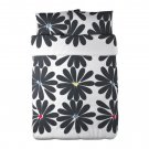 IKEA HEDDA BLOM QUEEN Duvet COVER Set BLACK White FLORAL Mod Graphic