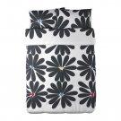 IKEA HEDDA BLOM QUEEN Duvet COVER Set BLACK White FLORAL Mod Graphic