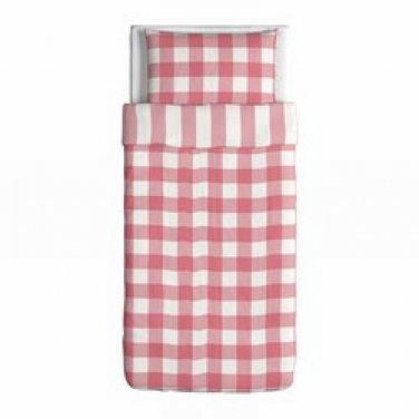 ikea emmie ruta twin duvet cover pillowcases set rose pink checks plaid. Black Bedroom Furniture Sets. Home Design Ideas