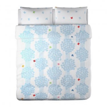 IKEA Hedda Lov BLUE White KING DUVET COVER Pillowcases Set ROMANTIC L�V