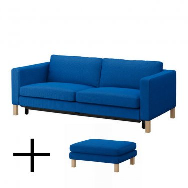IKEA KARLSTAD Sofa Bed and Footstool SLIPCOVERS Sofabed Ottoman Covers KORNDAL MEDIUM BLUE