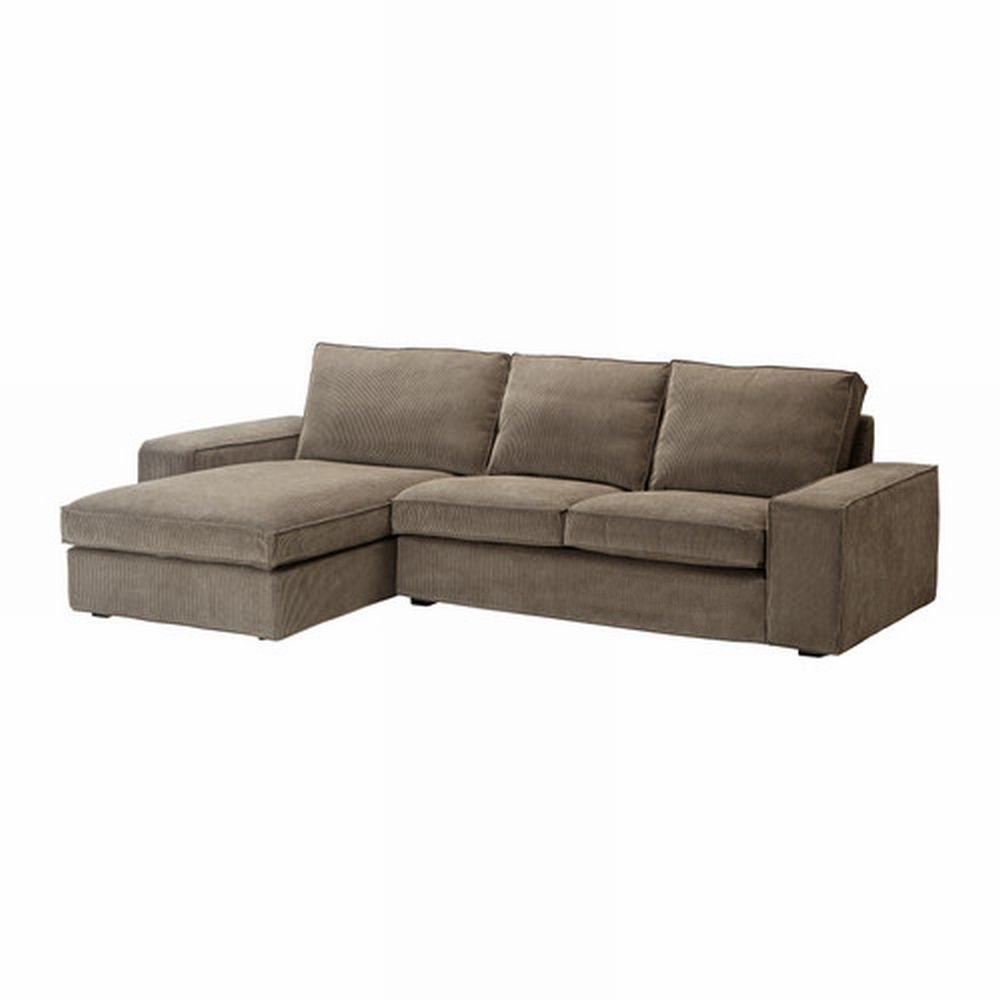 Ikea kivik 2 seat loveseat sofa w chaise slipcover cover tranas light brown tran s Loveseat chaise sectional