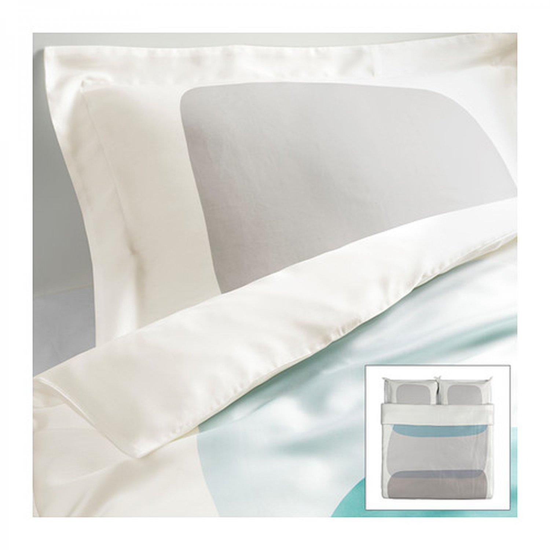 Ikea malin figur king duvet cover pillowcases set teal for Ikea comforter duvet cover