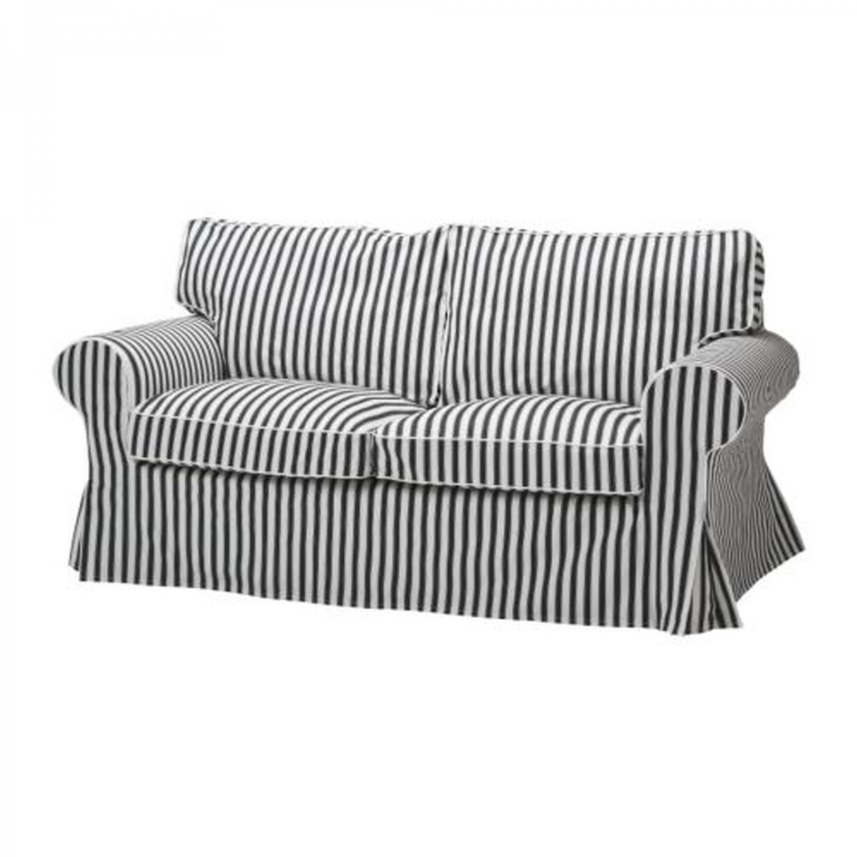 Ikea Ektorp Sofa Bed Slipcover Cover Vallsta Black White