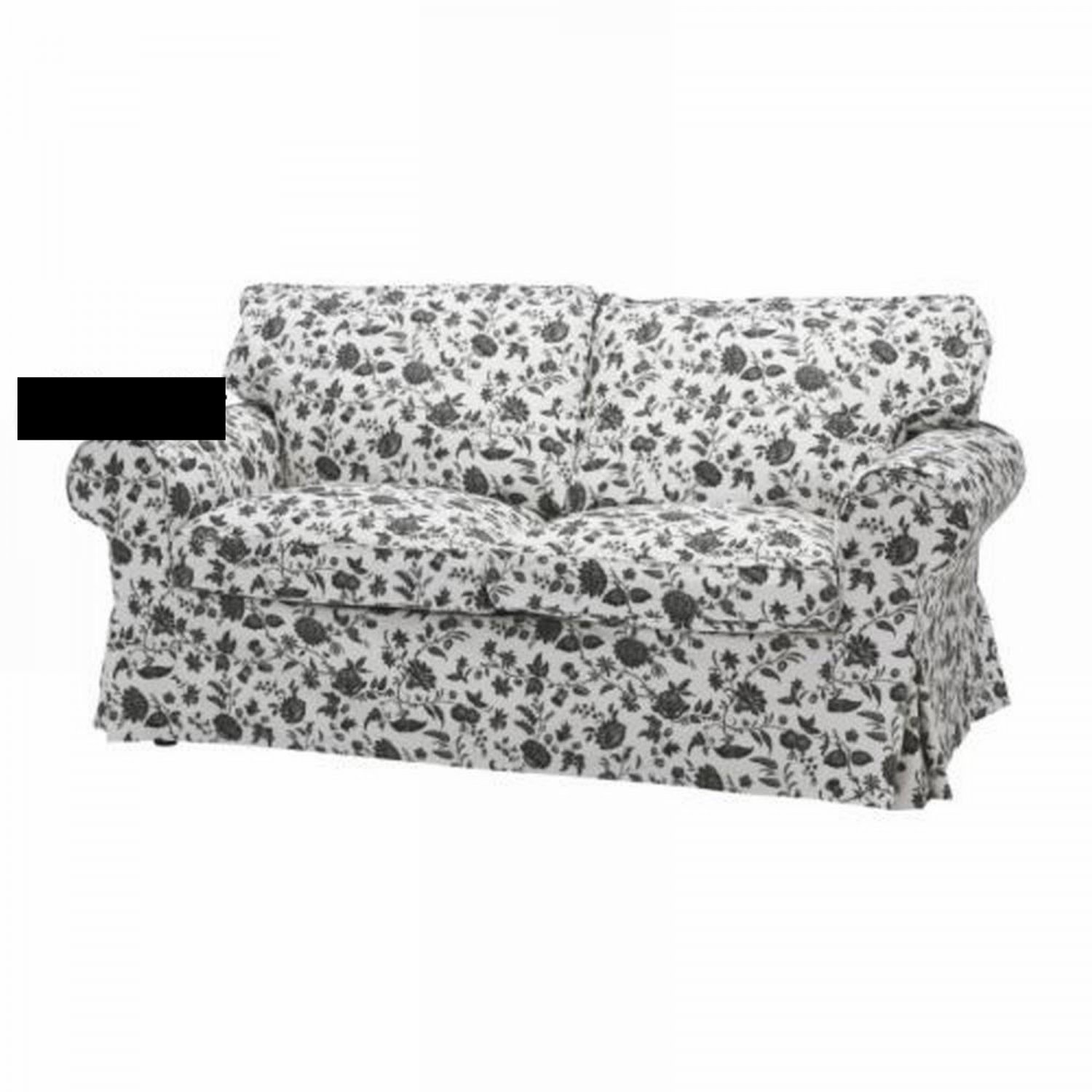 ikea ektorp sofa bed cover hovby black white bettsofa bezug slipcover sofabed floral. Black Bedroom Furniture Sets. Home Design Ideas