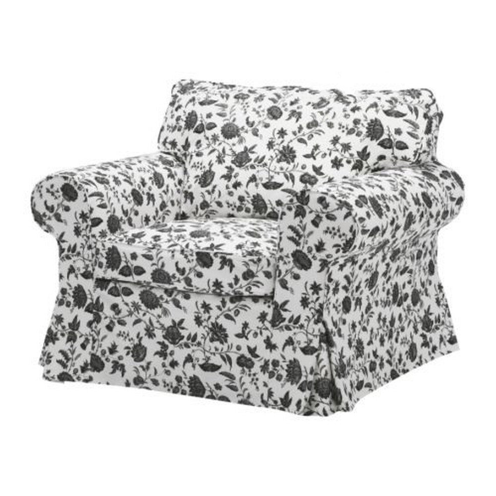 Ikea Ektorp Armchair Slipcover Cover Hovby Floral Black White