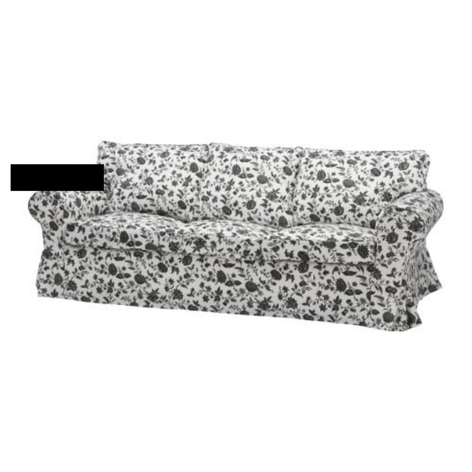 ikea ektorp 3 seat sofa slipcover cover hovby black white floral bezug. Black Bedroom Furniture Sets. Home Design Ideas