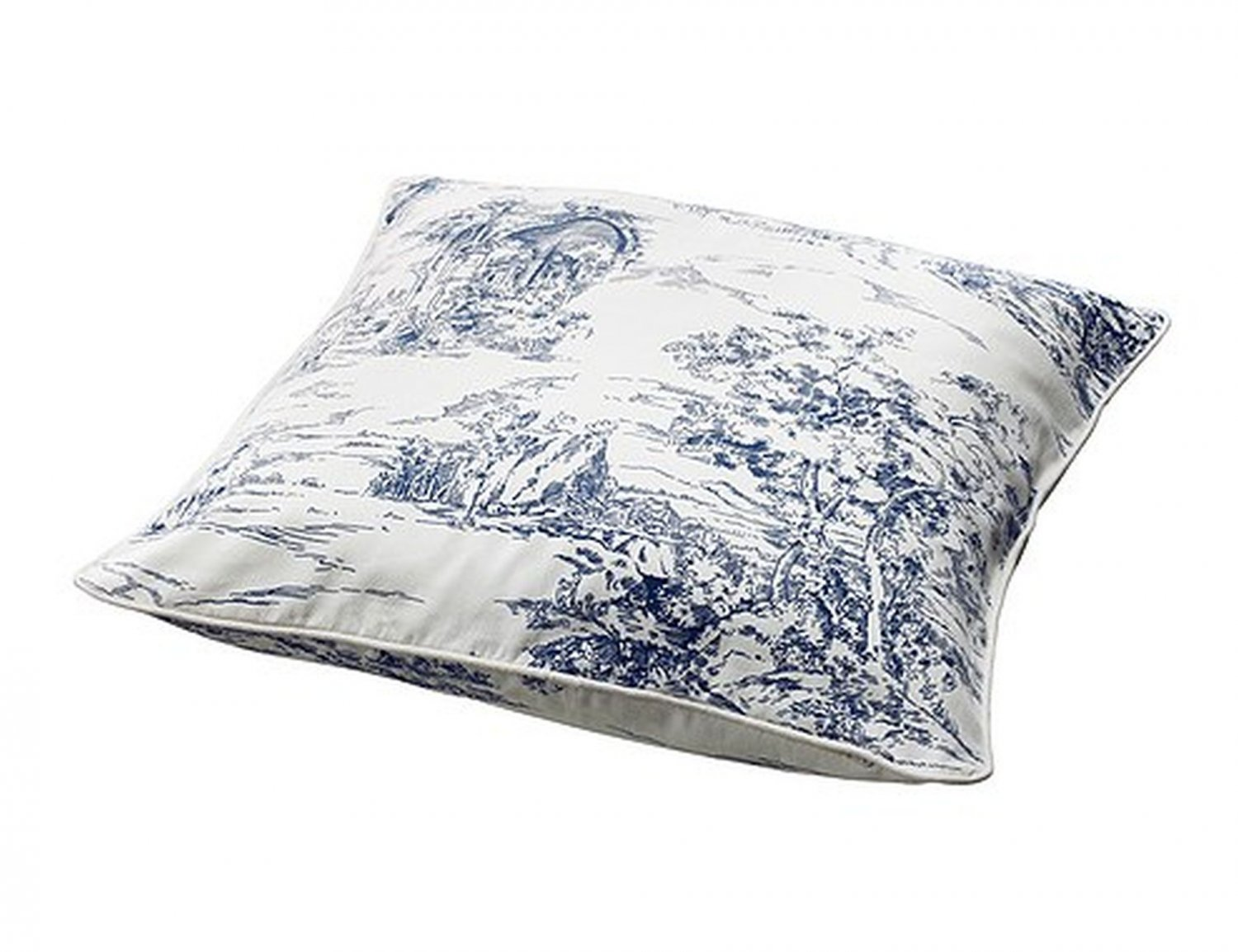 ikea emmie land cushion cover pillow sham toile blue white. Black Bedroom Furniture Sets. Home Design Ideas