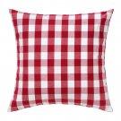 "IKEA SMANATE CUSHION COVER Pillow Sham RED White Checkered 20"" x 20"" SMÅNATE"