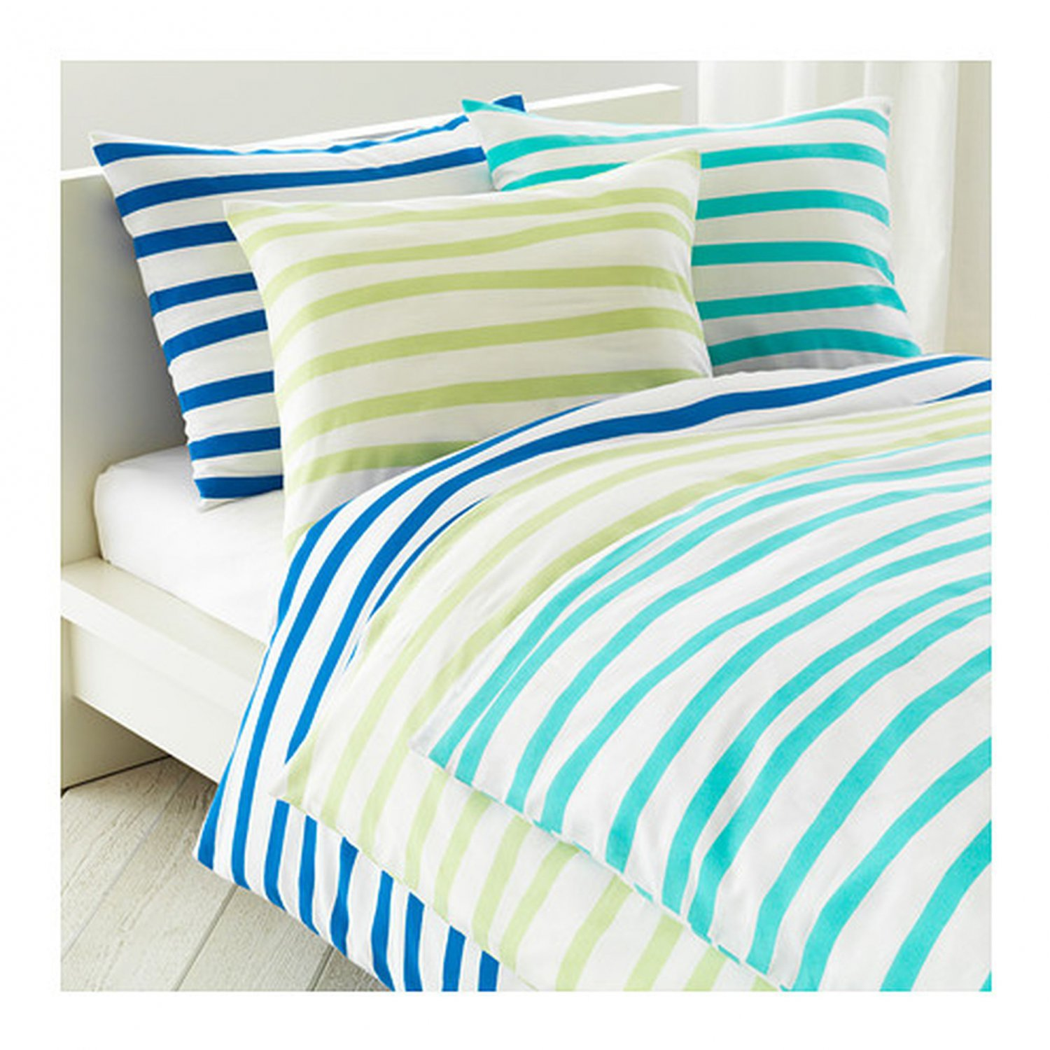 ikea springkorn queen full duvet cover set wavy striped turquoise white