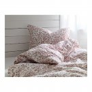 IKEA Alvine Trad QUEEN Full Double Duvet COVER Pillowcases Set WHITE DARK RED TRÄD