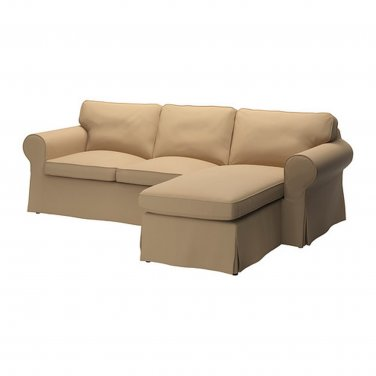 Ikea Ektorp 2 Seat Loveseat Sofa With Chaise Cover Slipcover Idemo Beige W Piping