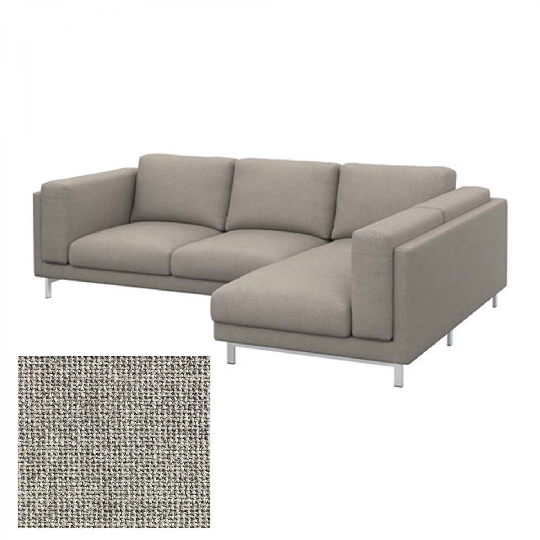 Ikea Nockeby Slipcover Loveseat W Chaise Right Cover Teno Light Gray Ten Grey