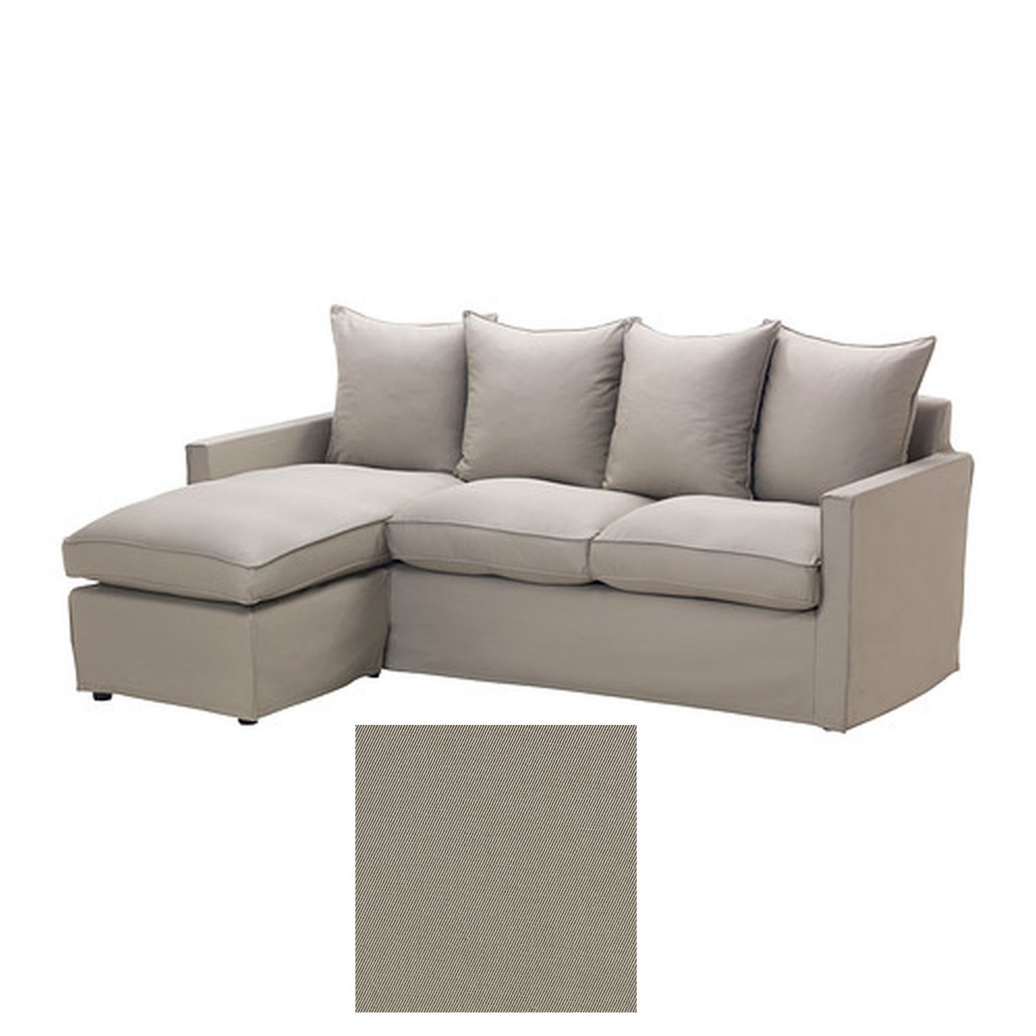 Ikea harnosand 2 seat loveseat sofa with chaise slipcover for Chaise couch slipcover