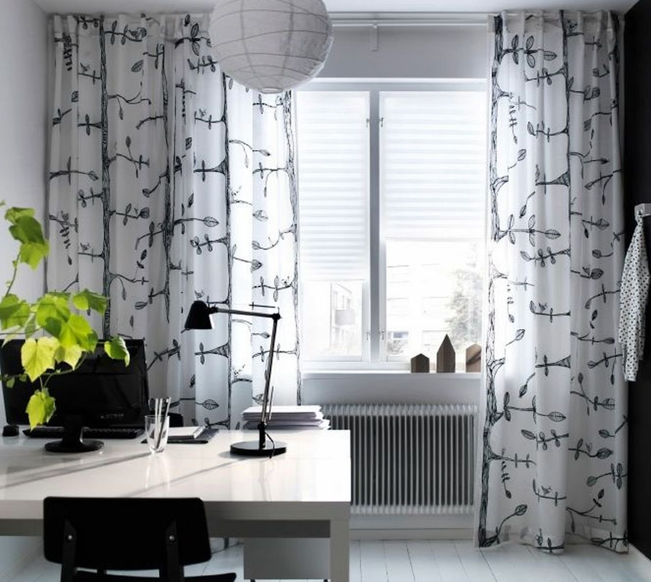 Ikea Eivor Curtains Drapes White Black Bird Leaf Garden Design